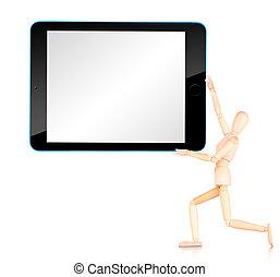 tavoletta, computer, con, vuoto, schermo, isolato, bianco, fondo