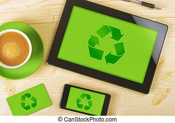 tavoletta, computer, telefono mobile, e, scheda affari, per, riciclaggio, co