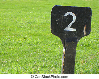 tavoletta, con, numerale, due, su, erba