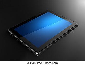 tavoletta, con, schermo blu