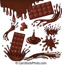 tavoletta di cioccolato, schizzi, latte