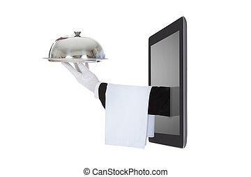 tavoletta, digitale, mano, venuta, waiter's, fuori