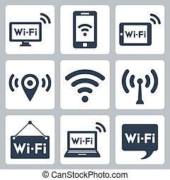 tavoletta, icone, cartello, wifi, laptop, vettore, discorso,...