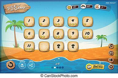 tavoletta, isola, gioco, disegno, interfaccia utente, deserto