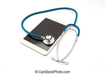 tavoletta, isolato, computer, fondo, bianco, stetoscopio