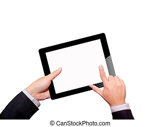 tavoletta, isolato, fondo., computer., mani, bianco