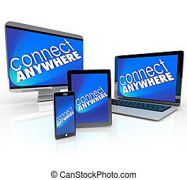 tavoletta, laptop, dovunque, desktop, telefono, computer,...