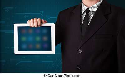 tavoletta, moderno,  apps, presa a terra, uomo affari, bianco,  blurry