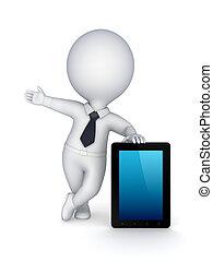 tavoletta, moderno, persona,  PC, piccolo,  3D