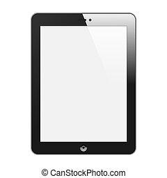 tavoletta, realistico, isolato, illustrazione, verticale, pc, vettore, fondo., screen., vuoto, bianco, black.