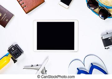 tavoletta, schermo, circondare, oggetti, vuoto, viaggiare