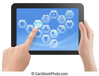 tavoletta, schermo, due, icons., vettore, mani, tocco, ...
