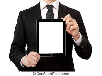 tavoletta, schermo, isolato, computer, presa a terra, uomo affari