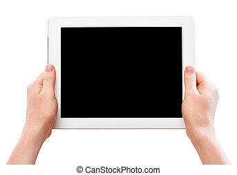 tavoletta, schermo, vuoto, isolato,  computer, nero, fondo, mani,  thehuman, bianco