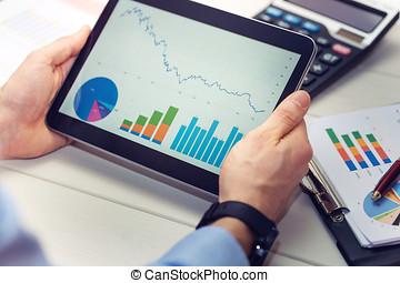tavoletta, tabelle, grafici, presa a terra, digitale, relazione, uomo affari