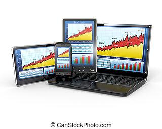 tavoletta, telefono, grafico, laptop, pc, analizzare, mercato