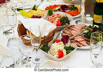 tavoli, banchetto, apparecchiato, elegante, cena, vacanza, festa., o