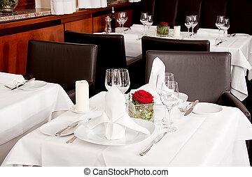 tavoli, in, ristorante, decorazione, tableware, vuoto, dishware