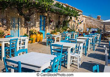 tavoli, in, uno, tradizionale, italiano, ristorante, in, sicilia