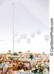 tavoli, matrimonio, tenda