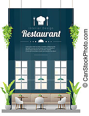 tavoli, ristorante, sedie, moderno, scena, 2, fondo, interno