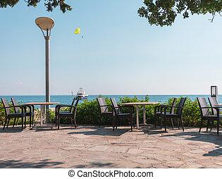 tavoli, sea., terrazzo, trascurare, ristorante