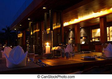 tavoli, sera, ristorante, tavola esterna, regolazione