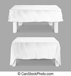tavoli, set, grigio, isolato, illustrazione, rettangolare, tablecloth., vector., tavola, tovaglia, bianco, vuoto