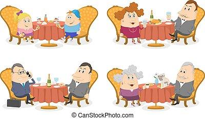 tavoli, set, isolato, persone