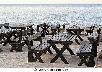 tavoli, spiaggia, picnic