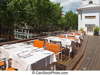tavoli, zona, ristorante, cenando, esterno, estate, barcelona.