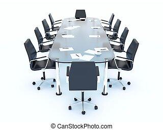 tavolo conferenza, bianco, isolato, vuoto
