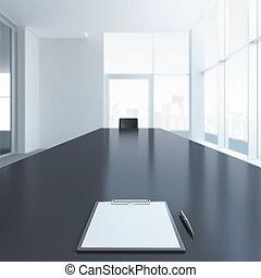 tavolo conferenza, penna, carta