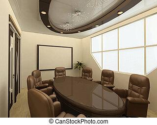 tavolo conferenza, su, moderno, ufficio, con, grande,...