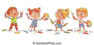 tavolozza, bambini, artist's, spazzole, vernice, presa a terra, gruppo, matite