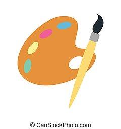 tavolozza dei colori, icona, isolato, spazzola