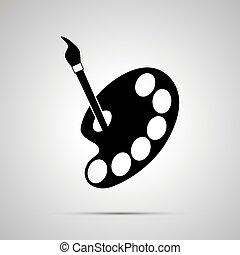 tavolozza, semplice, silhouette, nero, pittore, icona