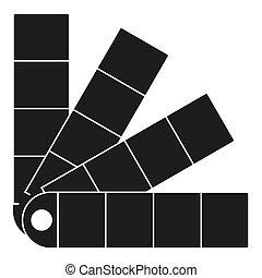 tavolozza, silhouette, parete, colorare, nero, bianco