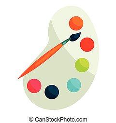 tavolozza, vernici, stile, spazzola, icona, cartone animato