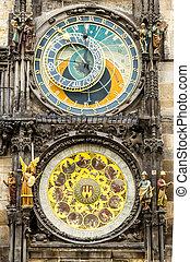 Tawn hall Orloj in Praha, close-up