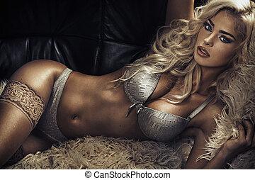 Tawny sensual lady wearing sexy lingerie - Tawny sensual...