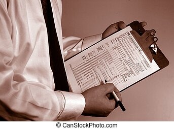 Tax Accountant Consultant paperwork - American government...