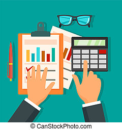 Tax accounting day concept background, flat style