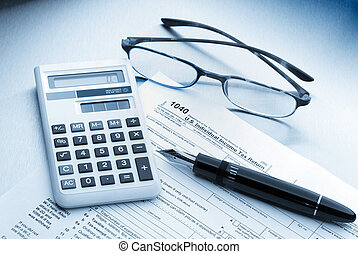 tax accounting - Tax preparation with fountain pen,...