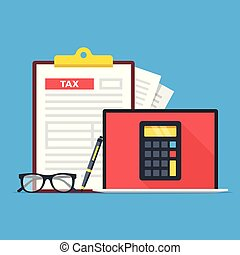 Tax accounting, tax services. Laptop with calculator on screen, glasses, pen and clipboard with tax form. Modern concept. Flat design. Vector illustration