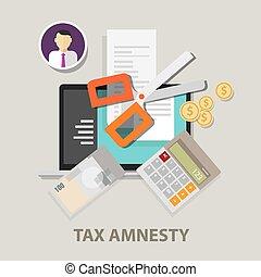 Tax amnesty, scissor illustration, government forgive taxation