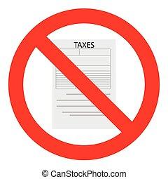 Tax ban icon flat
