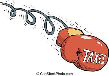 Tax blow - Cartoon tax blow boxing gloves vector...