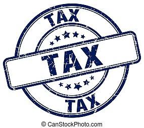 tax blue grunge round vintage rubber stamp