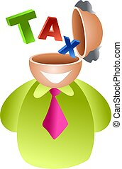 tax brain - man with the word TAX coming out of his head -...